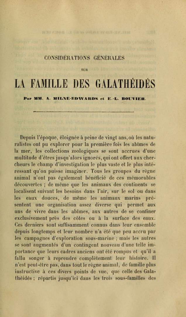 La Famille des Galatheides
