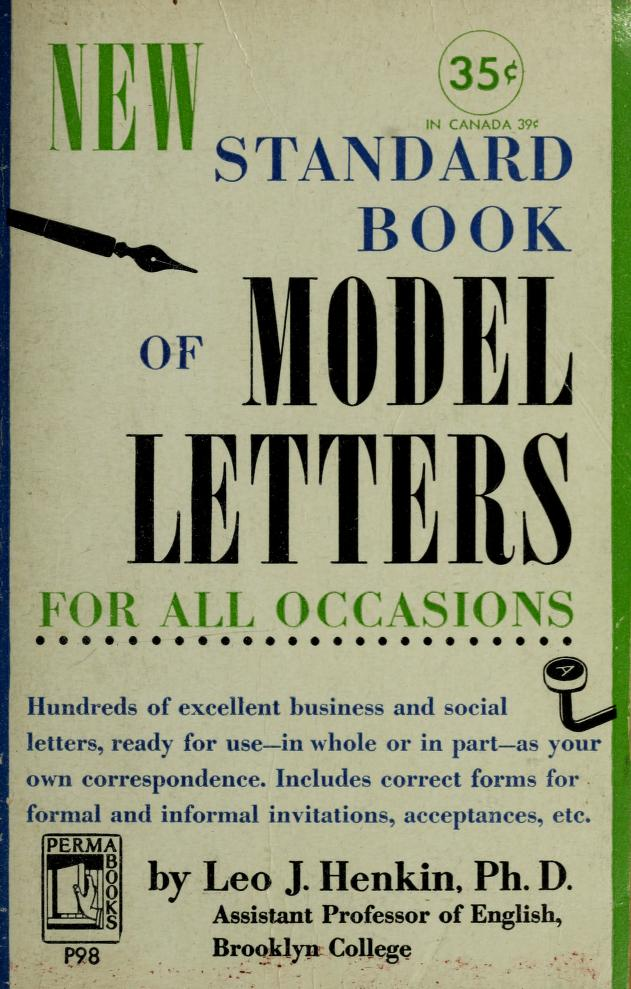 New standard book of model letters for all occasions by Leo Justin Henkin